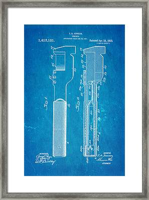 Jack Johnson Wrench Patent Art 1922 Blueprint Framed Print by Ian Monk