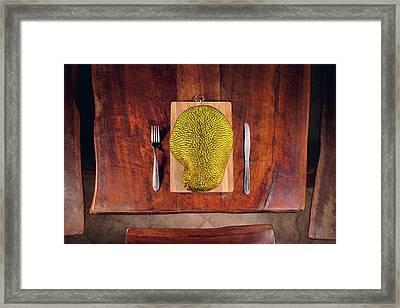 Jackfruit On Table Framed Print by Ktsdesign