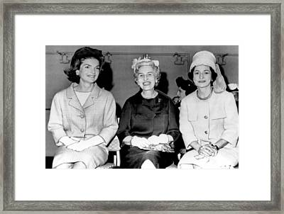 Jackie Kennedy At Luncheon Framed Print by Underwood Archives