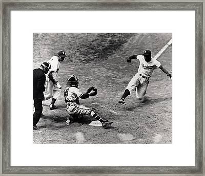 Jackie Robinson In Action Framed Print by Gianfranco Weiss