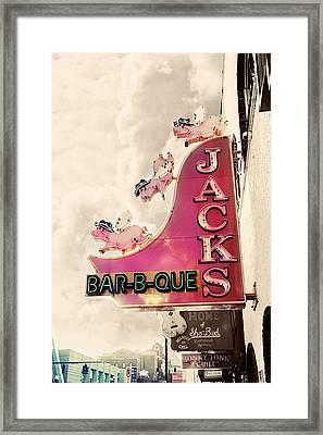 Jacks Bbq Framed Print by Amy Tyler