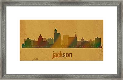 Jackson Mississippi City Skyline Watercolor On Parchment Framed Print by Design Turnpike