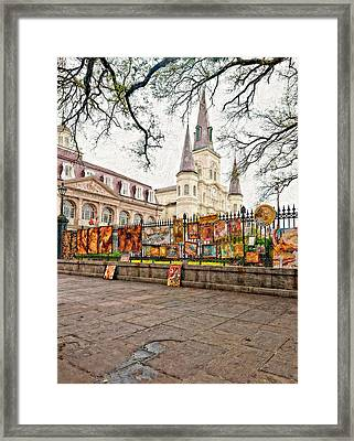 Jackson Square Winter Impasto Framed Print by Steve Harrington