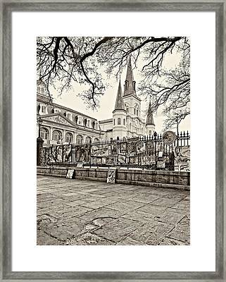 Jackson Square Winter Sepia Framed Print by Steve Harrington