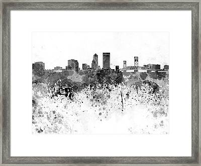 Jacksonville Skyline In Black Watercolor On White Background Framed Print by Pablo Romero