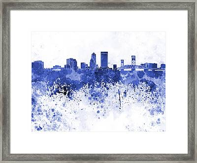 Jacksonville Skyline In Blue Watercolor On White Background Framed Print by Pablo Romero