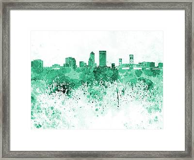Jacksonville Skyline In Green Watercolor On White Background Framed Print by Pablo Romero