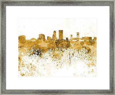 Jacksonville Skyline In Orange Watercolor On White Background Framed Print by Pablo Romero