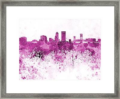 Jacksonville Skyline In Pink Watercolor On White Background Framed Print by Pablo Romero