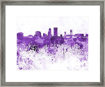 Jacksonville Skyline In Purple Watercolor On White Background Framed Print by Pablo Romero