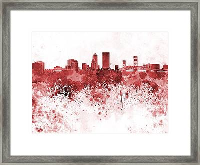 Jacksonville Skyline In Red Watercolor On White Background Framed Print by Pablo Romero
