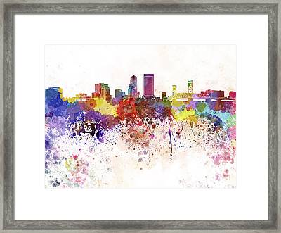 Jacksonville Skyline In Watercolor On White Background Framed Print by Pablo Romero