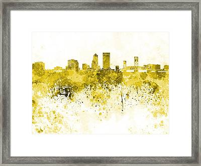 Jacksonville Skyline In Yellow Watercolor On White Background Framed Print by Pablo Romero