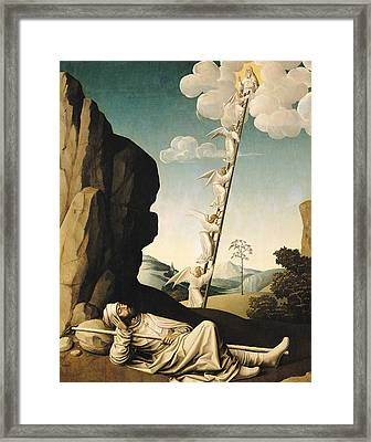 Jacobs Ladder, C.1490 Oil On Panel Framed Print by French School