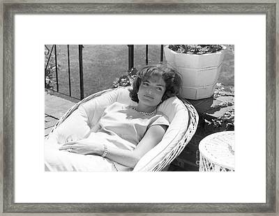 Jacqueline Kennedy Relaxing At Hyannis Port 1959. Framed Print by The Phillip Harrington Collection