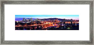 Jacques Cartier Bridge With City Lit Framed Print by Panoramic Images