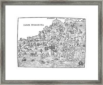 Jacques Cartier Map, 1566 Framed Print by Granger