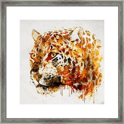 Jaguar In Watercolor Framed Print by Marian Voicu