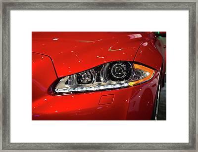 Jaguar Xjr Headlights Framed Print by Jim West