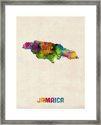 Jamaica Watercolor Map Framed Print by Michael Tompsett