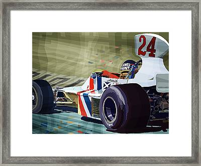 James Hunt 1975 Hesketh 308b Framed Print by Yuriy Shevchuk