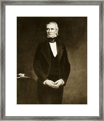 James K Polk  Framed Print by George Healy