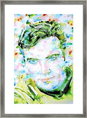 James T. Kirk - Watercolor Portrait Framed Print by Fabrizio Cassetta