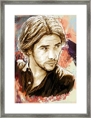Jamiroquai - Stylised Pop Art Drawing Potrait Poser Stylised Pop Art Drawing Potrait Poser Framed Print by Kim Wang