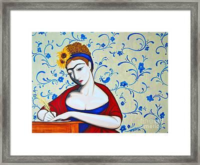 Jane A La Frida Framed Print by Rebecca Mott