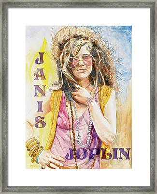 Janis Joplin Painted Poster Framed Print by Kathryn Donatelli