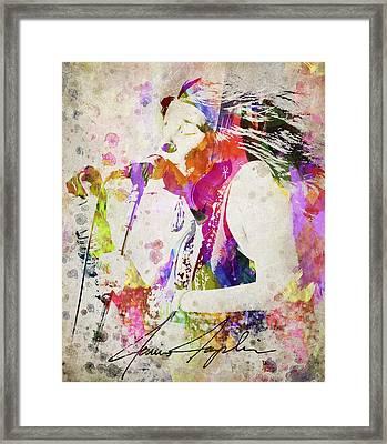 Janis Joplin Portrait Framed Print by Aged Pixel