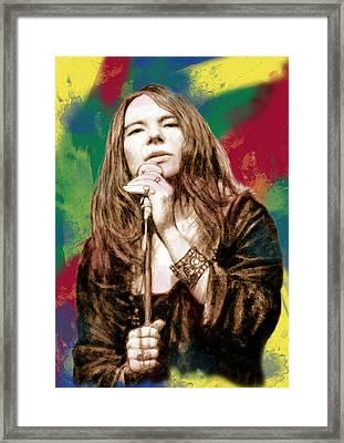 Janis Joplin - Stylised Drawing Art Poster Framed Print by Kim Wang