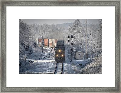January 24. 2015 Csx Q028 At Nortonville Ky Framed Print by Jim Pearson