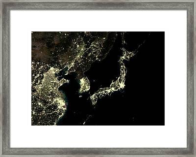 Japan And Korean Peninsula At Night Framed Print by Planetobserver