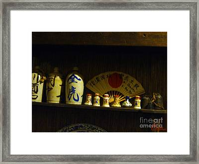 Japanese Ceramic Sake Bottles With Fan And Bells Framed Print by Feile Case