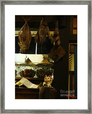 Japanese Fish And Seafood Restaurant Kitchen Framed Print by Feile Case