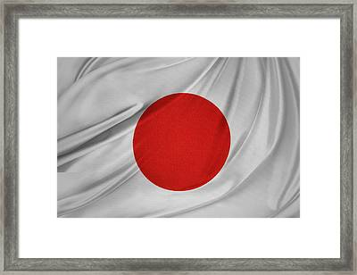 Japanese Flag Framed Print by Les Cunliffe