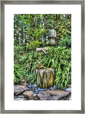Japanese Garden Fountain Framed Print by Heidi Smith