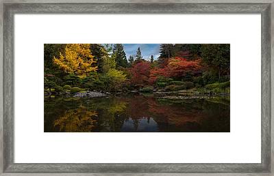 Japanese Garden Reflection Framed Print by Mike Reid