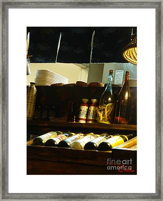 Japanese Kitchen And Sake Selection Framed Print by Feile Case
