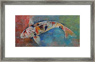 Japanese Koi Framed Print by Michael Creese