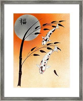 Japanese Koi Sanke Good Fortune Framed Print by Gordon Lavender