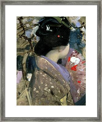 Japanese Lady With A Fan Framed Print by George F Henry