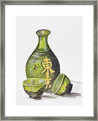 Japanese Rice Wine - Sake Framed Print by Irina Gromovaja