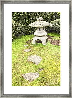 Japanese Stone Lantern Hamilton Gardens New Zealand Framed Print by Colin and Linda McKie