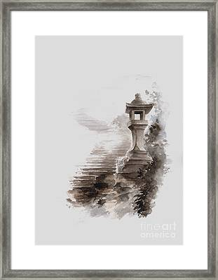 Japanese Stone Lantern Framed Print by Mariusz Szmerdt