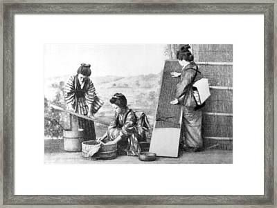 Japanese Women Doing Laundry Framed Print by Underwood Archives