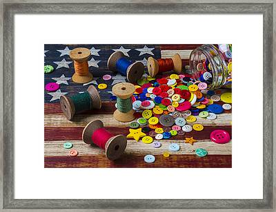 Jar Of Buttons And Spools Of Thread Framed Print by Garry Gay