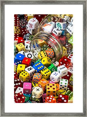 Jar Of Colorful Dice Framed Print by Garry Gay