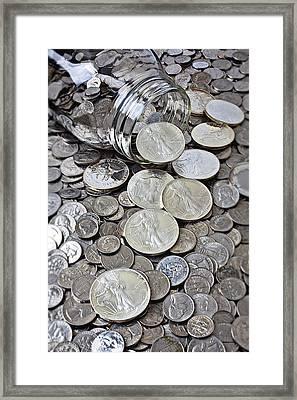Jar Spilling Silver Coins Framed Print by Garry Gay